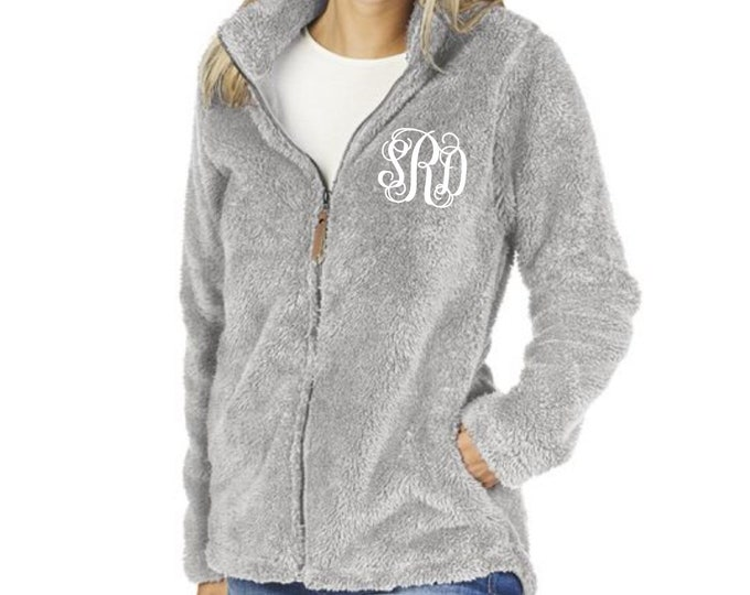 Monogrammed Sherpa, Full Zip Sherpa, Newport Fleece Full Zip Jacket, Charles River Sherpa Jacket, Monogrammed Sherpa Jacket, Gifts for Her