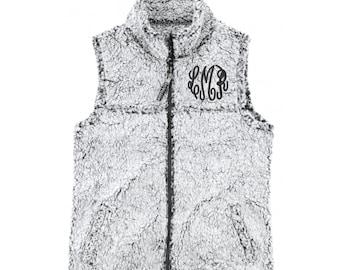 Monogrammed Sherpa Vest, Women's Monogram Vest, Girls Monogrammed Vest Monogrammed Vest