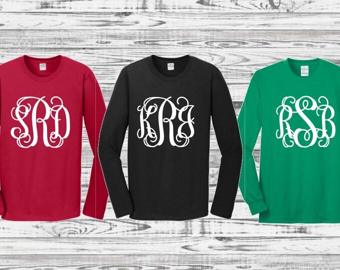 Long Sleeve Monogrammed Shirt, Monogrammed Shirt, Monogram Tee Shirts, Christmas Shirts, Gifts for Her, Group Order Discounts