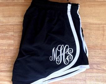 Monogrammed Running Shorts, Cheer Shorts, Cheerleading Shorts, Monogrammed Shorts, Cheer Practice Shorts