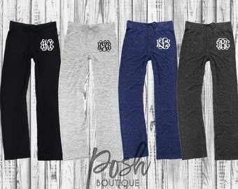Monogrammed Sweatpants, Personalized Bridesmaid Sweatpants, Soft Lounge Pants, Cuddle Wide Leg Pant