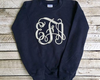 Monogrammed Sweatshirt, Monogram Sweatshirts, Monogram Pullover, Gift for Her, Gifts Under 20, Monogrammed Gifts