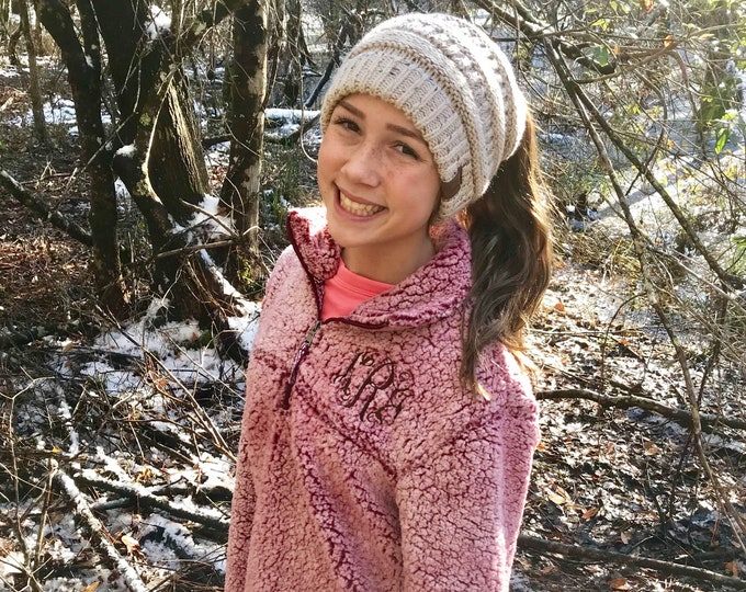 Monogram Sherpa Pullover, Women's Sherpa Quarter Zip Pullover, Gifts for Her, Bulk Order Discounts