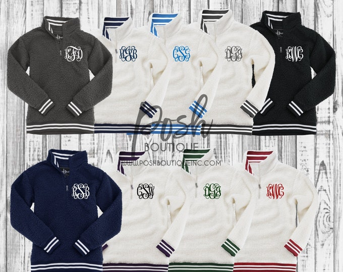 Monogrammed Sherpa Pullover, Monogram Sherpa Quarter Zip Pullover, Varsity Sherpa Pullover