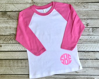 Girls Monogram Raglan Shirt, Monogrammed Baseball T shirt, Monogrammed Three Quarter Sleeve, NL3352