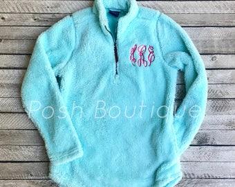 Monogrammed Sherpa Pullover, Newport Fleece Quarter Zip Pullover, Charles River Quarter Zip Pullover, Monogram Pullover, Gifts for Her