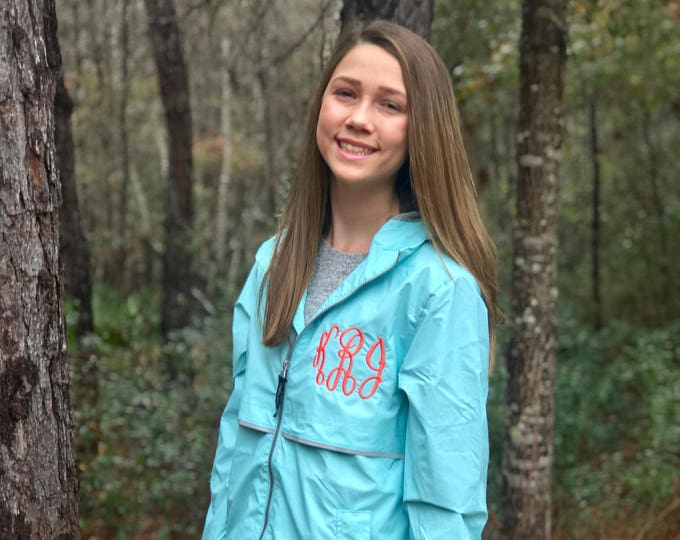 Monogrammed Rain Jacket - Monogrammed gift - New Englander Rain Jacket - Monogram Charles River Rain Jacket - Gifts for Her