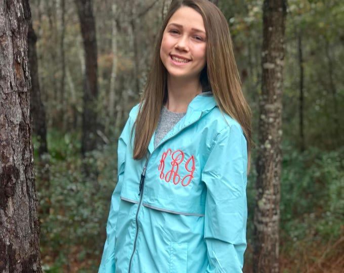 Monogrammed Rain Jacket - Rain Jacket - Charles River Rain Jacket- New Englander Rain Jacket - Monogrammed Full Zip Rain Jacket