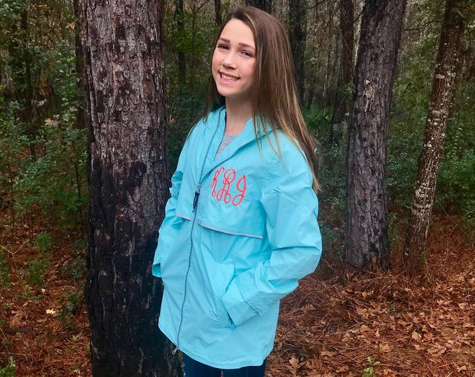 Monogram Rain Jacket, Charles River New Englander Rain Jacket - Monogrammed Rain Jacket - Monogrammed Gifts - Gifts for Her