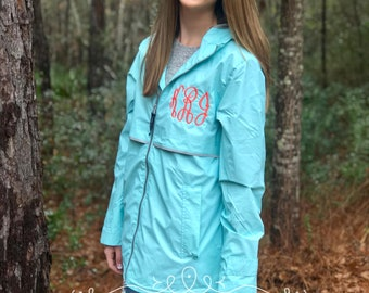 Monogrammed Rain Jacket - New Englander Rain Jacket - Charles River Rain Jacket - Womens Rain Jacket - Rain Jackets - Free Shipping