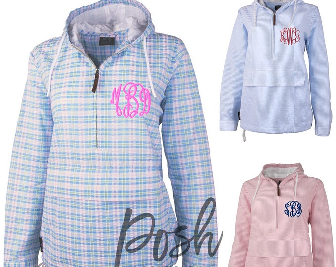 Monogrammed Pullover, Monogram Seersucker Pullover, Bar Harbor Pullover, Preppy Jacket for Spring