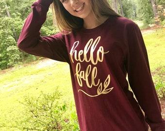 Fall Tee Shirt, Fall Shirts, Hello Fall, Hello Fall Shirt, Boutique Tee Shirts, Shirts for Fall