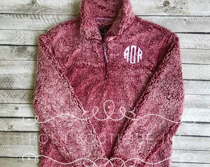 Monogrammed Sherpa Pullover, Women's Monogrammed Sherpa Quarter Zip Pullover, Fall Bridesmaid Gifts, Monogrammed Quarter Zip