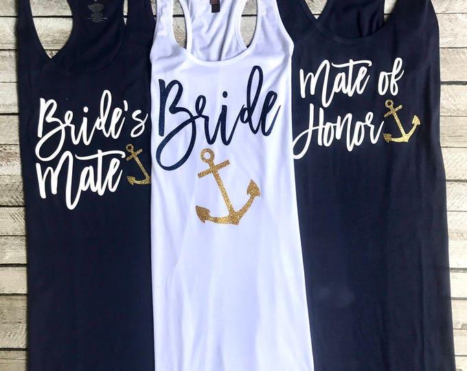 Bachelorette Party, Swimsuit Coverup, Anchor Coverup, Bachelorette Party Tank Dress, Cruise, Nautical, Tank Dress