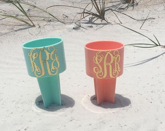 Monogrammed Sand Spiker, Neon Monogram Sand Spike Drink Holder, Bridesmaid Gift, Team Gift, Corporate Gifts, Monogrammed Gifts