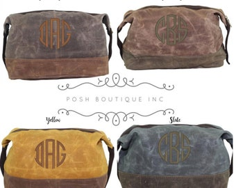 Monogrammed Dopp Kit, Groomsman Gifts, Waxed Canvas Dopp Kit, Monogrammed Toiletry Bag, Gifts for him, Canvas Leather Travel Kit