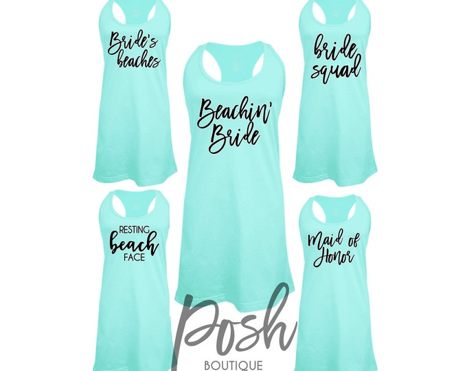 Custom Swimsuit Coverups, Bachelorette Coverups, Beachin' Bride, Bride Squad, Bridal Party Tank Dresses, Spring Break Tank Dress,
