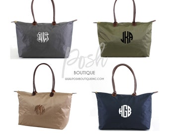 Large Monogrammed Nylon Tote Bag, Personalized Tote Bag, Bridesmaid Gifts, Bridal Party Gifts, Personalized Gifts for Her