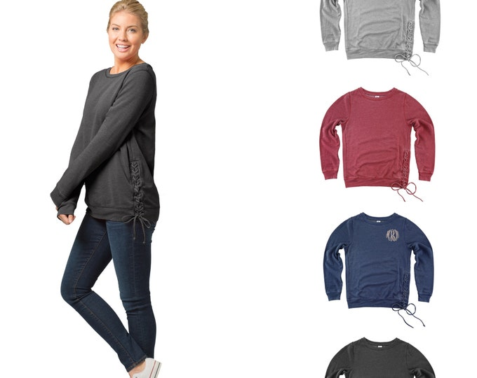 Monogrammed Sweatshirt, Lace Up Sweatshirt, Vintage Sweatshirt, Monogram Rally Laceup Sweatshirt