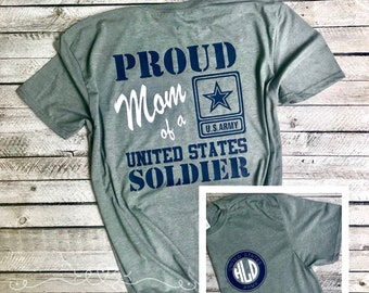 Proud Mom of a Soldier Tee Shirt, Military mom T-shirt, Military Wife T-shirt, Soldiers Wife Shirt, Soldier mom shirt, Custom military shirt