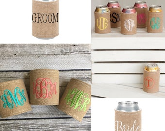 Monogrammed Drink Wrap, Can Cozie, Wedding Favors, Groomsmen Gifts, Bridal Party Favors, Water bottle Wrap, Bridesmaid Gifts, Drink Wrap