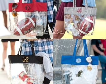 Monogrammed Clear Tote Bag, Stadium Bag, Clear Stadium Bag, Security Friendly, Personalized Clear Tote Bag, Team Colors, Concert Bag