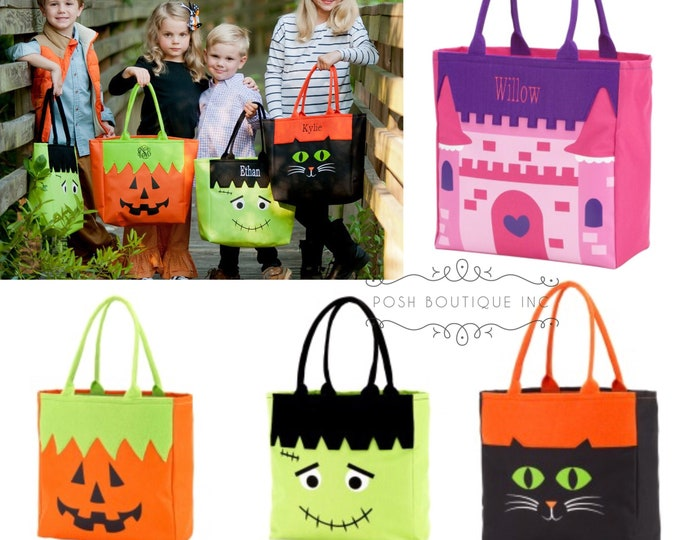 Trick or Treat Bag, Monogrammed Trick or Treat bag, Personalized Trick or Treat Tote Bag, Halloween Candy Bag, Halloween Bags