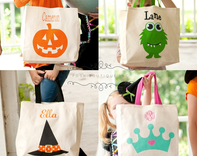 Trick or Treat Bag, Canvas Trick or Treat bag, Personalized Trick or Treat Tote Bag, Halloween Bags, Personalized, Monogrammed Gifts