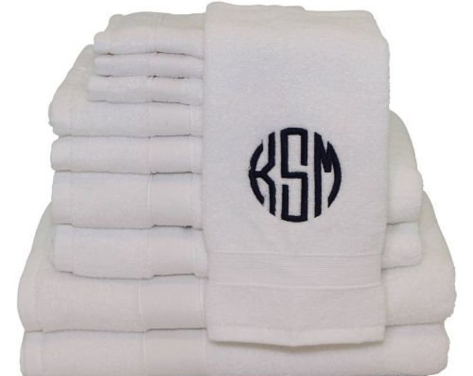 8 piece Bath Towel Set, Monogrammed Bath Towel Set, Personalized Bath Towels, Housewarming Gifts, Monogrammed Gifts, Wedding Gifts