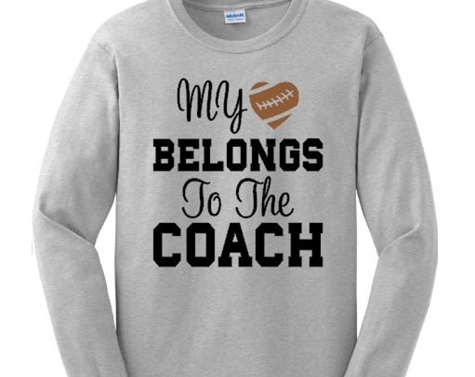 My heart belongs to the coach shirt, Coach's wife shirt, Custom basketball shirt, Long sleeve tee shirt