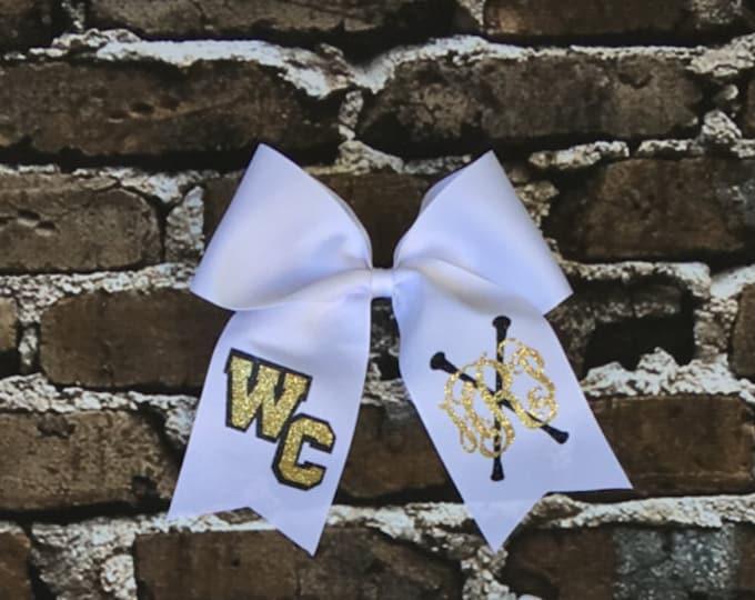 Cheer Bows, Hair Bows, Monogram Majorette Cheer Bow, Cheer Bows, Twirler Hair Bow, Dancer Hair Bow, Team Discounts Available