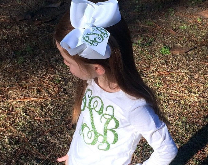 Monogram Shirt and Hair Bow, Monogram Long Sleeve T Shirt, Monogram Hair Bow, Monogrammed gifts, Girls Monogram Shirts and Hair bows