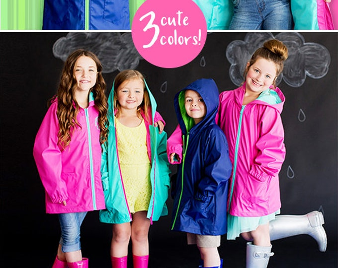 Kids Rain Jacket, Monogram Rain Jacket, Girls and Boys Rain Jackets, Personalized Rain Jacket for Kids