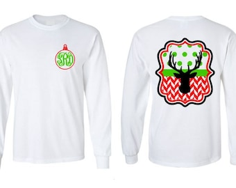 Monogram Christmas Shirt, Christmas Shirts, Monogrammed Long Sleeve Christmas Shirt, Girl's and Women's Monogrammed Christmas Shirts