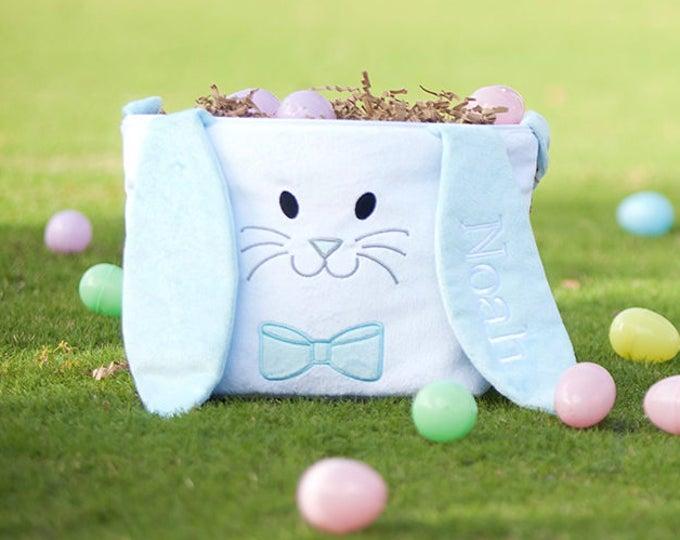 Easter Basket, Personalized Easter Basket, Seersucker Easter Basket, Hippity Hoppity Easter Basket
