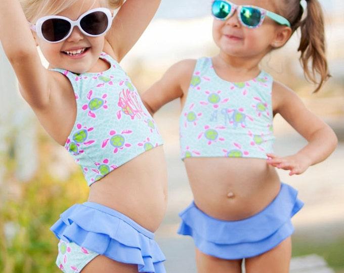 Sale! Toddler Monogrammed Swimsuit, Girls Swimsuit, Turtle Tide, Navy Stripe, Mint, Summer Paisley, Monogram Swimsuit, Monogrammed Swimsuit