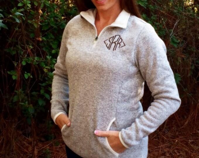Monogrammed Women's Heathered fleece Pullover, Charles River Quarter zip, Monogrammed Sweatshirt, Monogram quarter zip