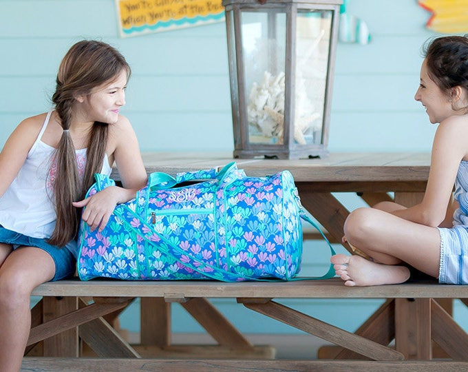 Mermazing Collection, Monogrammed Travel Set, Summer Camp, Backpack, Duffle Bag, Lunchbox, Cosmetic Bag, Tote Bag, Hooded Beach Towel