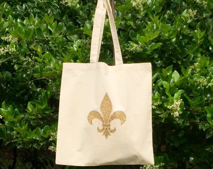 Monogram Tote Bag, Canvas Tote Bag, Monogrammed Gifts, Bridesmaid Gifts, Fleur De Lis, Monogram, Tote Bag