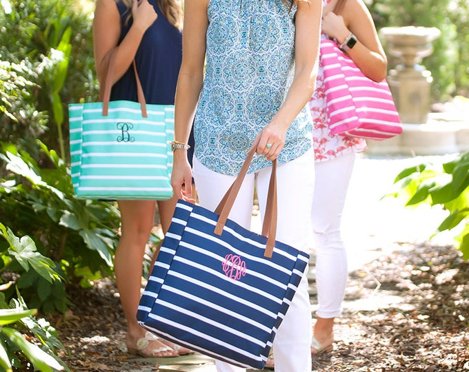 Stripe Tote Bag, Monogrammed Tote Bag, Mint Stripe Tote Bag, Monogrammed Totes, Bridesmaid Gifts, Personalized Gifts, Personalized Tote Bag