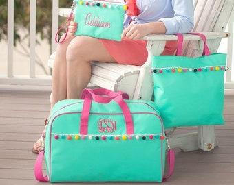Emily Travel Bag Collection, Tote Bag, Wristlet, Overnight Bag, Summer Camp Luggage Set, Girls Travel Sets