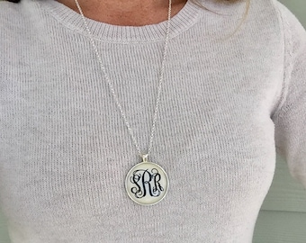 Silver Monogram Necklace, Monogrammed Gift, Monogrammed Necklace, Bridesmaid gift, Personalized gift, Bulk order discounts
