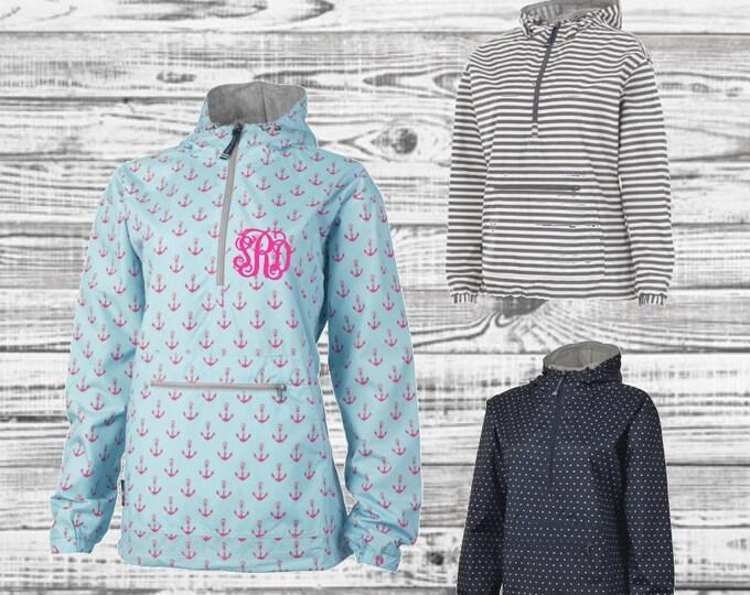 Monogrammed Rain Jacket, Charles River Printed Chatham Rain Jacket, Anorak Rain Jacket, Lined Anorak Rain Jacket
