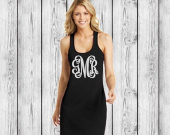 Monogrammed Swimsuit Coverup Monogrammed Bridesmaid Gifts, Tank dress, Honeymoon, Bachelorette, Bridesmaid Monogram Swimsuit Coverups