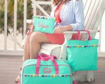Emily Travel Collection, Girls Travel Bag, Tote Bag, Wristlet, Personalized Travel Set, Overnight Bag, Tote Bag, Makeup Bag, Summer Camp Bag