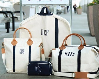 Monogrammed Luggage Set, Weekender Bag, Garment Bag, Cosmetic Bag, and Carry On Flight Bag, Personalized Luggage, Luxury Travel Set