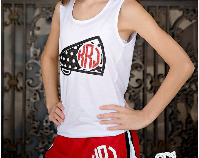 Monogram Running Shorts, Cheer Bow, and Tank Top Set - Cheer Camp Sets, Team Discounts, Monogram Running shorts, Monogram tank tops