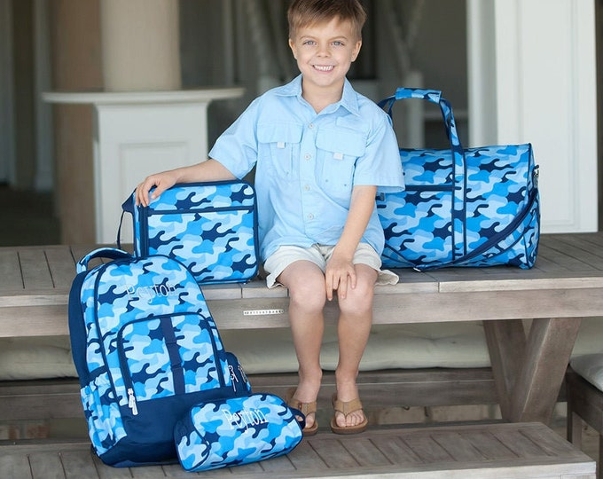 Cool Camo Travel Set, Personalized Boys Travel Essentials, Backpack, Duffle Bag, Lunchbox, Toiletry Bag, Pencil Case