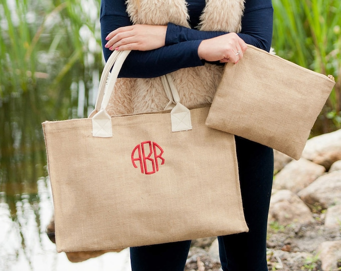 Monogrammed Tote Bag, Burlap Tote, Personalized Gifts, Gifts under 25, Personalized Tote Bag