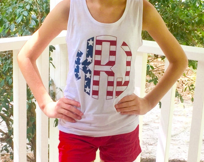 Monogrammed Tank Top, July 4th Tank, Fourth of July Tank Top, Sibling Tank Top, 4th of July Tank Tops